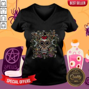 Day Of The Dead Muertos Sugar Skull Vintage V-neck