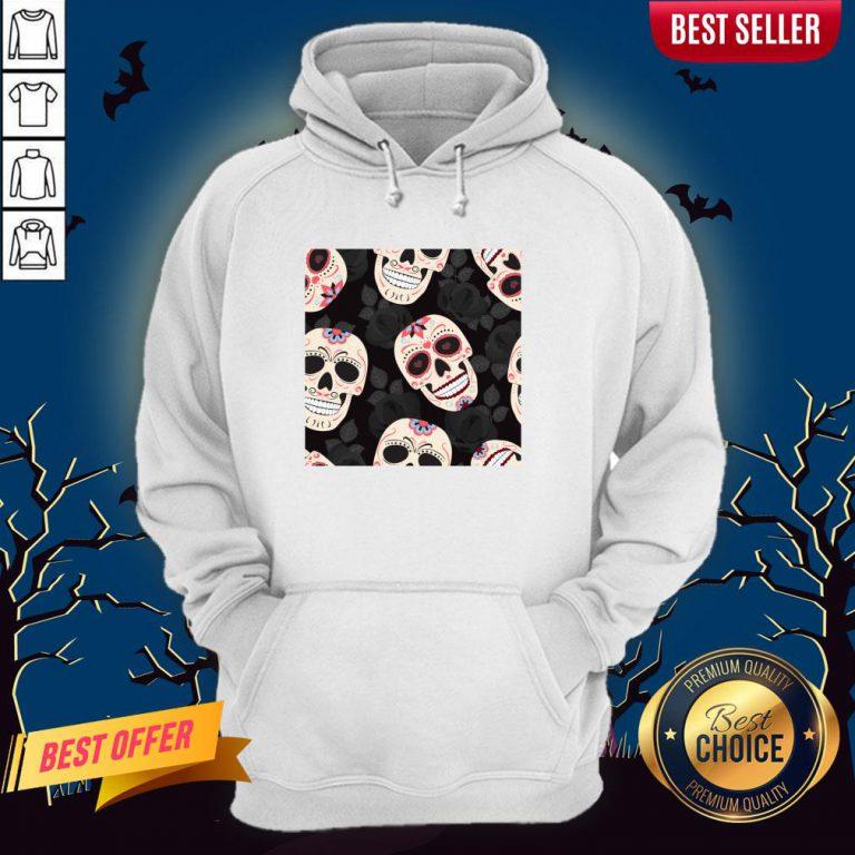 Day Of The Dead Sugar Skulls Halloween Skull Black Roses Hoodie