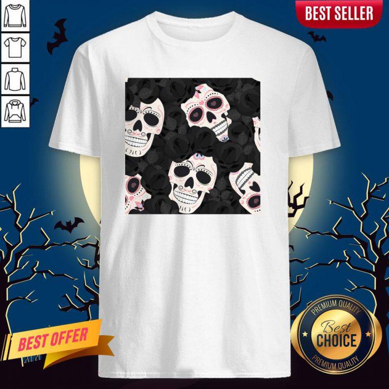 Day Of The Dead Sugar Skulls Halloween Skull Black Roses Muertos Shirt