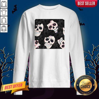 Day Of The Dead Sugar Skulls HDay Of The Dead Sugar Skulls Halloween Skull Black Roses Muertos Sweatshirtalloween Skull Black Roses Muertos Sweatshirt