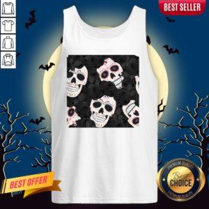 Day Of The Dead Sugar Skulls Halloween Skull Black Roses Muertos Tank Top
