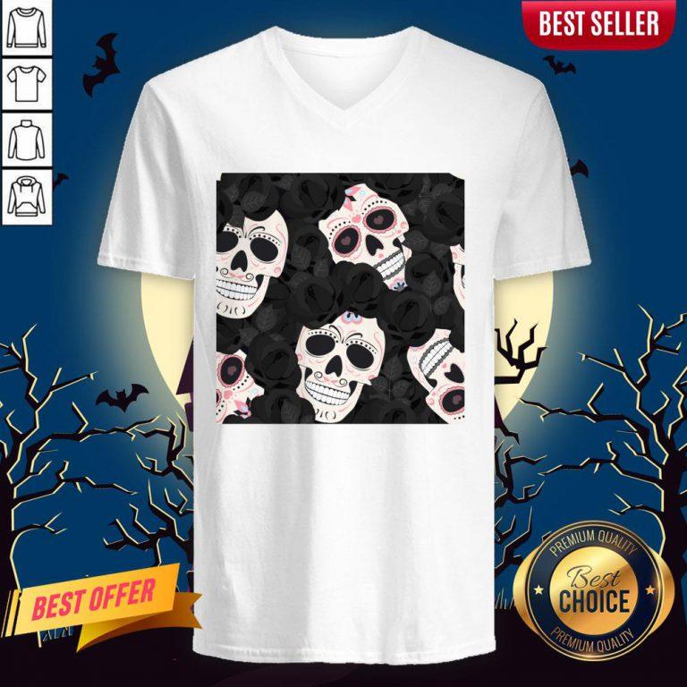 Day Of The Dead Sugar Skulls Halloween Skull Black Roses Muertos V-neck