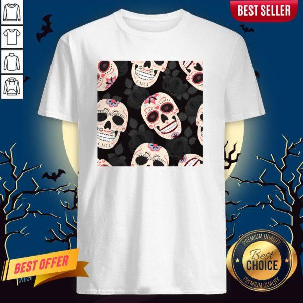 Day Of The Dead Sugar Skulls Halloween Skull Black Roses Shirt