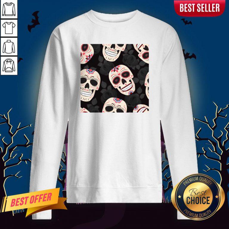 Day Of The Dead Sugar Skulls Halloween Skull Black Roses Sweatshirt