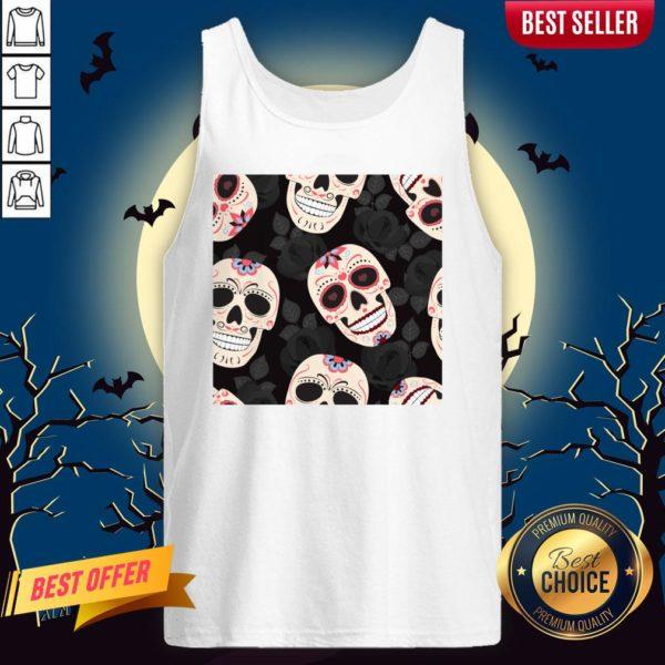 Day Of The Dead Sugar Skulls Halloween Skull Black Roses Tank Top