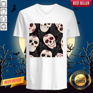 Day Of The Dead Sugar Skulls Halloween Skull Black Roses V-neck