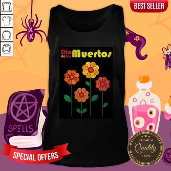 Dia De Los Muertos Skull Flowers Tank Top
