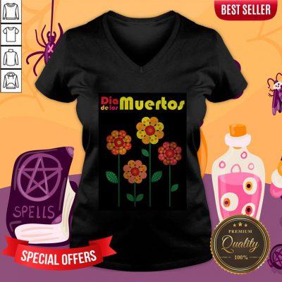 Dia De Los Muertos Skull Flowers V-neck