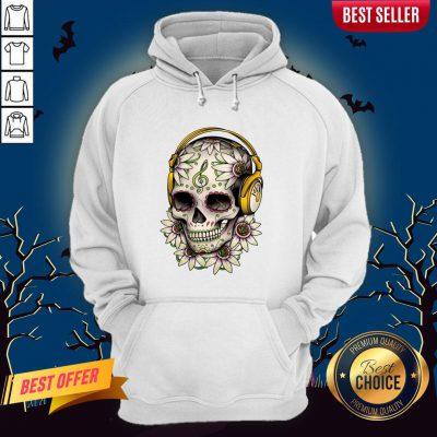 Dj Sugar Skull Headphones Music Halloween Muertos Hoodie