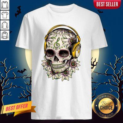 Dj Sugar Skull Headphones Music Halloween Muertos Shirt
