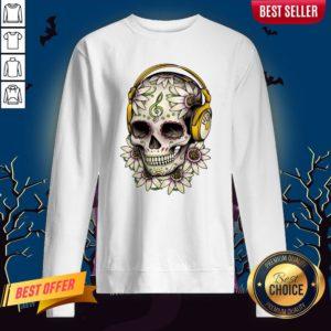 Dj Sugar Skull Headphones Music Halloween Muertos Sweatshirt