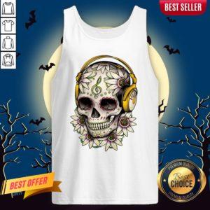Dj Sugar Skull Headphones Music Halloween Muertos Tank Top