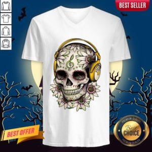 Dj Sugar Skull Headphones Music Halloween Muertos V-neck