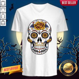 Flower Sugar Skull Dia De Muertos Day Of The Dead V-neck