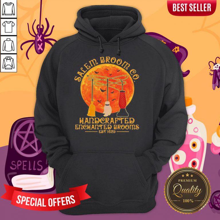 Halloween Hocus Pocus Salem Broom Co Handcrafted Enchanted Brooms Est 1629 Moon Hoodie