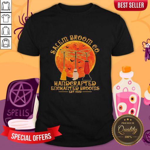 Halloween Hocus Pocus Salem Broom Co Handcrafted Enchanted Brooms Est 1629 Moon Shirt