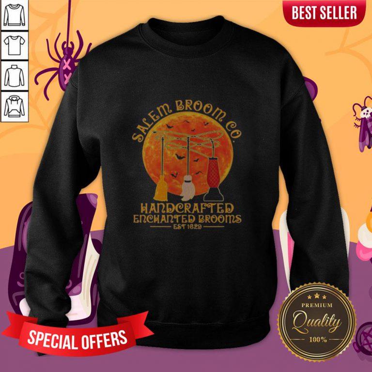 Halloween Hocus Pocus Salem Broom Co Handcrafted Enchanted Brooms Est 1629 Moon Sweatshirt
