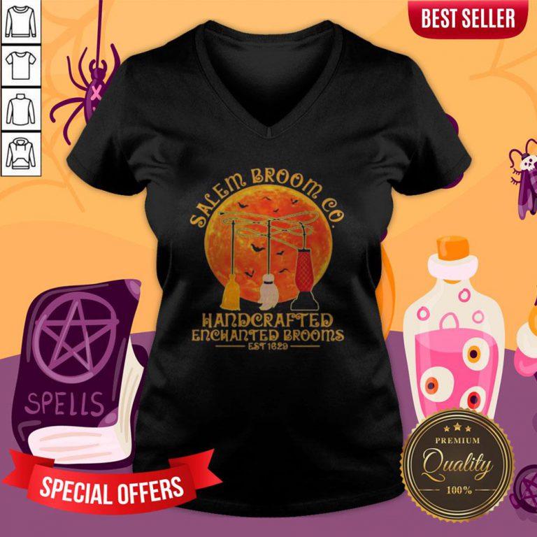 Halloween Hocus Pocus Salem Broom Co Handcrafted Enchanted Brooms Est 1629 Moon V-neck