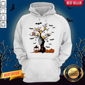 Halloween Tree Owls Witch Pumpkin Hoodie