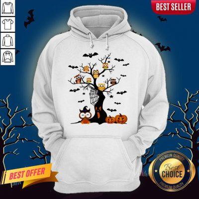 Halloween Tree Owls Witch Pumpkin Hoodie