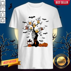 Halloween Tree Owls Witch Pumpkin ShirtHalloween Tree Owls Witch Pumpkin Shirt
