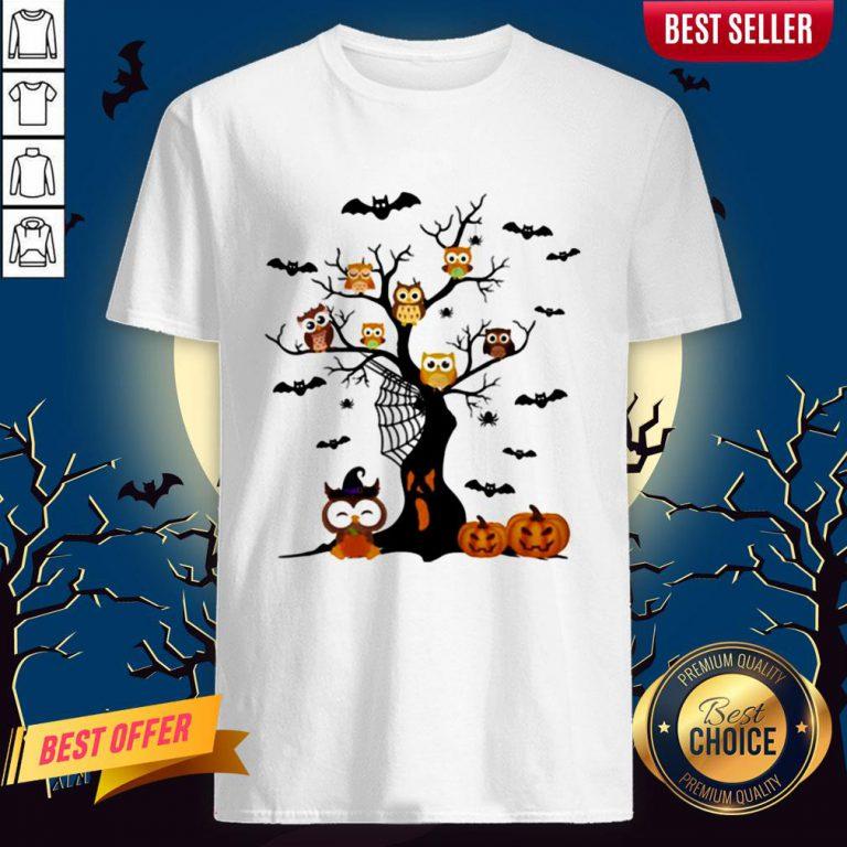 Halloween Tree Owls Witch Pumpkin ShirtHalloween Tree Owls Witch Pumpkin Shirt