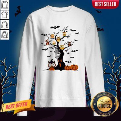 Halloween Tree Owls Witch Pumpkin Sweatshirt
