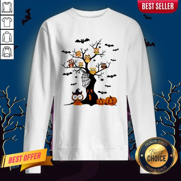 Halloween Tree Owls Witch Pumpkin Sweatshirt