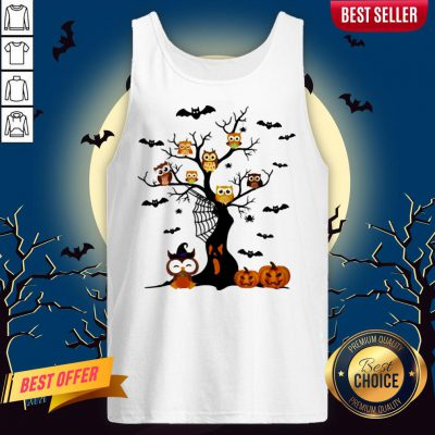 Halloween Tree Owls Witch Pumpkin Tank Top