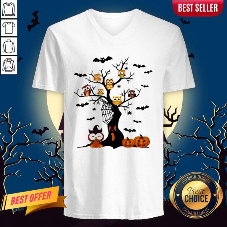 Halloween Tree Owls Witch Pumpkin V-neck