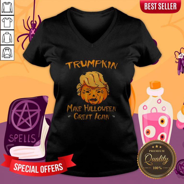 Halloween Trumpkin Make Halloween Great Again V-neck