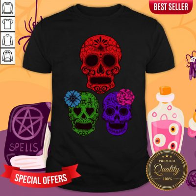Hollow Sugar Skulls Color Day Of The Dead Shirt