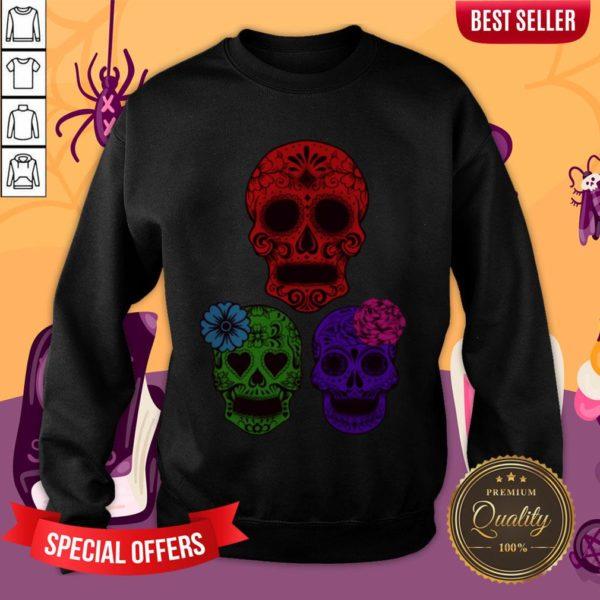 Hollow Sugar Skulls Color Day Of The Dead Sweatshirt