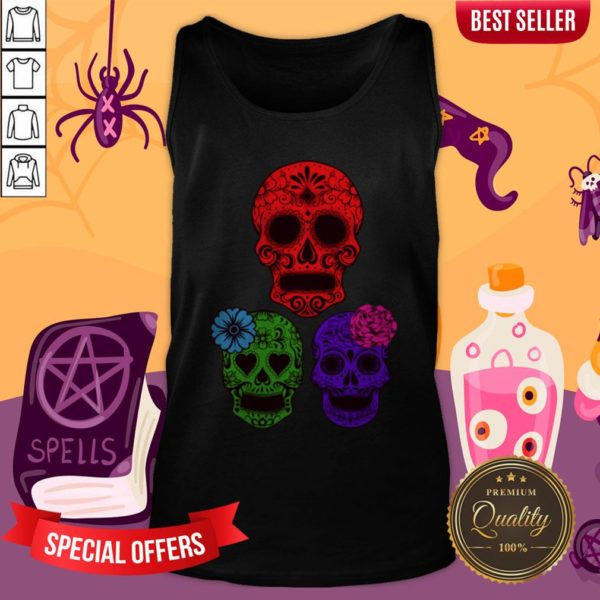 Hollow Sugar Skulls Color Day Of The Dead Tank Top