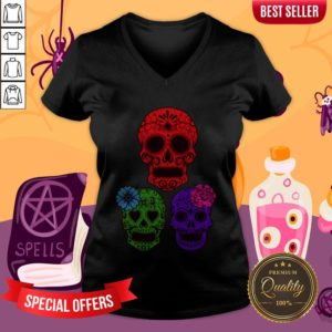 Hollow Sugar Skulls Color Day Of The Dead V-neck