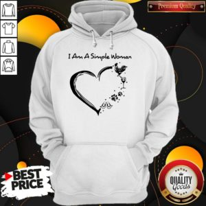 I Am A Simple Woman Chicken Wine Dog Paw And Flip Flop Hoodie
