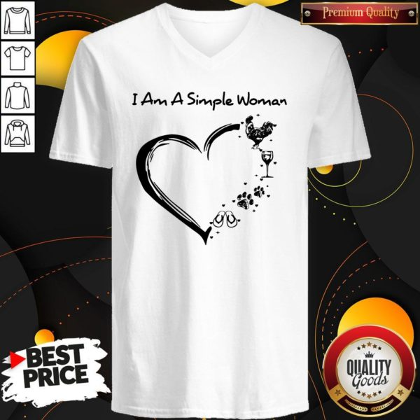 I Am A Simple Woman Chicken Wine Dog Paw And Flip Flop V-neck