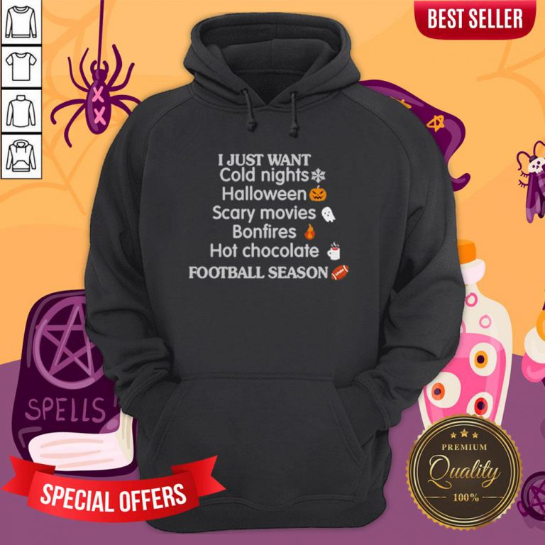I Just Want Cold Nights Halloween Scary Movies Bonfires Hot Chocolate Hoodie