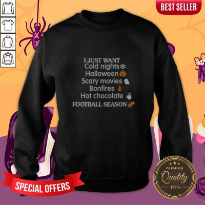 I Just Want Cold Nights Halloween Scary Movies Bonfires Hot Chocolate Sweatshirt