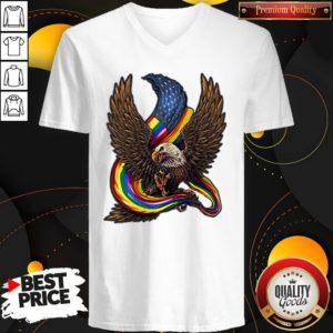 Independence Day Eagle Rainbow LGBT V-neck