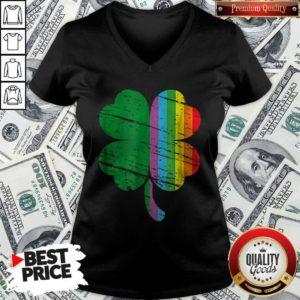Irish Shamrock Gay LGBT St Patricks Day Pride Rainbow V-neck