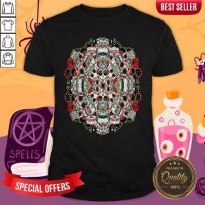 Mexican Dia De Los Muertos Rose Sugar Skulls Shirt