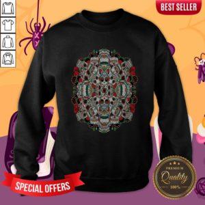 Mexican Dia De Los Muertos Rose Sugar Skulls Sweatshirt