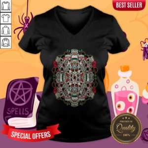Mexican Dia De Los Muertos Rose Sugar Skulls V-neckMexican Dia De Los Muertos Rose Sugar Skulls V-neck