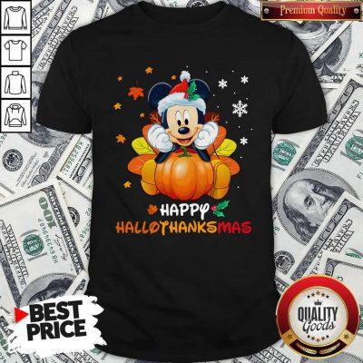 Mickey Mouse Pumpkin Happy Hallothanksmas Shirt