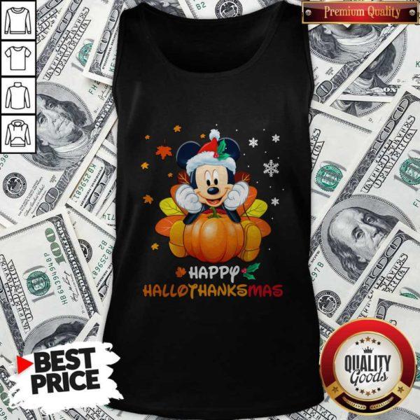 Mickey Mouse Pumpkin Happy Hallothanksmas Tank Top