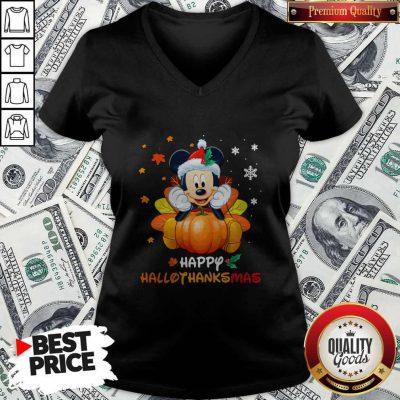 Mickey Mouse Pumpkin Happy Hallothanksmas V-neck