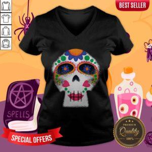 Mrs Sugar Skull Day Of The Dead Dia De Muertos V-neck
