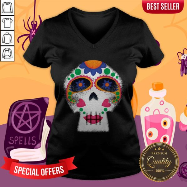 Mrs Sugar Skull Day Of The Dead Dia De Muertos V-neck