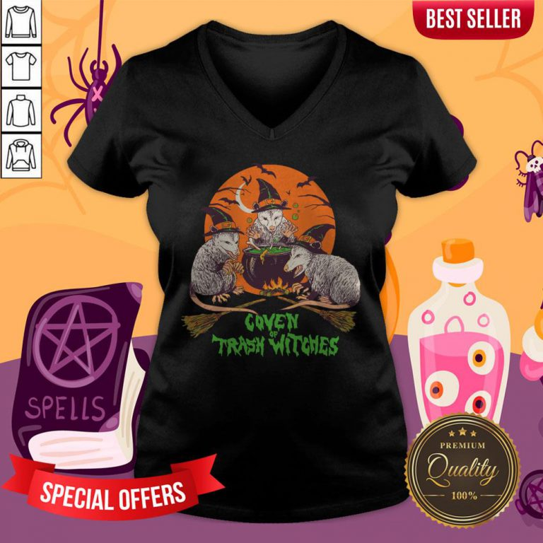 Nice Coven Of Trash Witches Halloween V-neck